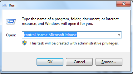 mouse properties window
