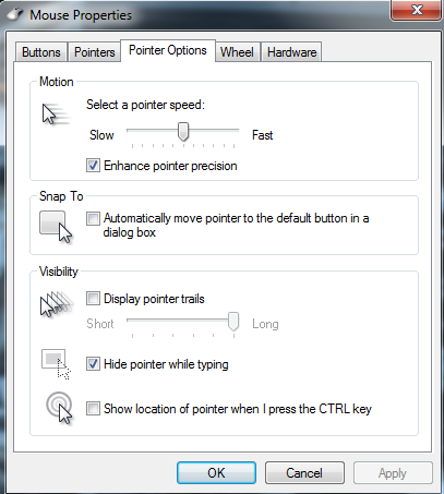 pointer options